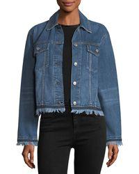 Rag & Bone - Blue Oversized Button-front Denim Jacket W/ Fringed Hem - Lyst