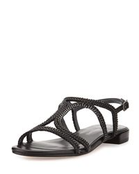 Stuart Weitzman - Black Samoa Chain Strappy Flat Sandal - Lyst