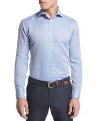 Peter Millar | Blue Silky-touch Linen-cotton Sport Shirt for Men | Lyst
