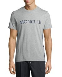 Moncler - Gray Maglia Logo-graphic T-shirt for Men - Lyst