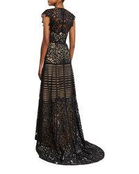 Lela Rose - Black Floral Corded V-neck Gown - Lyst