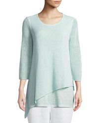 Eileen Fisher - Multicolor Organic Linen 3/4-sleeve Round-neck Knit Tunic - Lyst