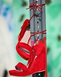 Stuart Weitzman   Brown Pompom Fringe Ankle-tie Wedge Sandal   Lyst