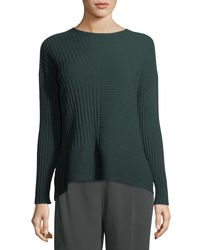Eileen Fisher - Green Seamless Ribbed Italian Cashmere Sweater - Lyst