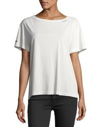 Mother - White Goodie Goodie Short-sleeve Boxy Cotton Tee W/ Embroidery - Lyst