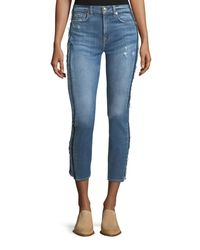 7 For All Mankind - Blue Roxanne Ankle Skinny Jeans W/ Frayed Tux Stripe - Lyst