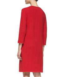 Joan Vass Brown Sand-stitched Zip-pocket Shift Dress