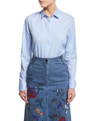 Tibi | Blue Long-sleeve Oxford Shirting Bodysuit | Lyst