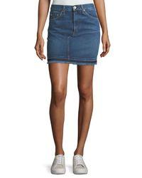 Rag & Bone - Blue Dive Pencil Denim Mini Skirt W/ Fringed Hem - Lyst