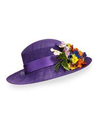 Philip Treacy - Purple Straw Hat W/ Pansies - Lyst