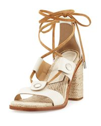 Rag & Bone - White Eden Lace-up Raffia Sandal - Lyst