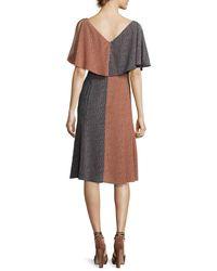 Derek Lam - Black Bicolor Handkerchief-top Silk Midi Dress - Lyst