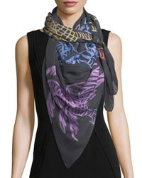Anna Coroneo - Blue Modal Square Palm Trees Scarf - Lyst