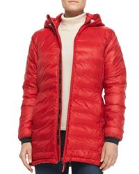 Canada Goose - Red Camp Hooded Mid-length Puffer Coat - Lyst