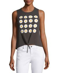 Chaser - Black Daisies Tie-front Muscle Tank - Lyst