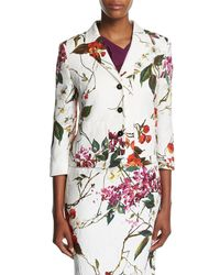 ESCADA - White Floral Printed Matelasse Jacket - Lyst