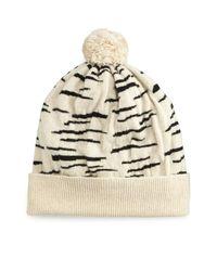 Rosie Sugden   White Cashmere Tiger-stripe Beanie Hat   Lyst