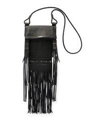Saint Laurent - Black Tanger Medium Flat Fringe Crossbody Bag - Lyst