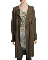 Johnny Was - Green Antonia Suede Long Coat - Lyst