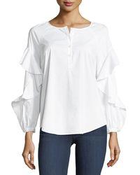 Splendid - White Crewneck Button-placket Ruffle-sleeve Poplin Shirt - Lyst