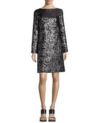 Michael Kors - Black Metallic Floral Jacquard Long-sleeve Shift Dress - Lyst