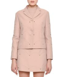 Valentino - Pink Rockstud Scalloped Crepe Jacket - Lyst