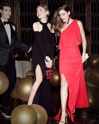La Femme - Black Long-sleeve Jersey Cold-shoulder Gown - Lyst