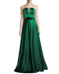 THEIA - Green Strapless Illusion Insert Belted Gown - Lyst