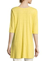 Eileen Fisher | Yellow Half-sleeve Linen Jersey Layering Tunic | Lyst