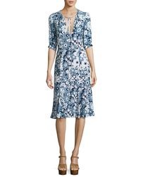 Michael Kors - Blue Floral Bias-cut Keyhole Dress - Lyst