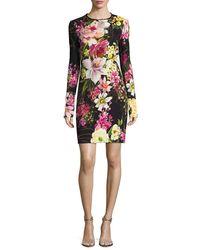 Naeem Khan - Black Long-sleeve Floral-print Dress - Lyst