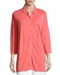 Eileen Fisher - Pink 3/4-sleeve Organic Linen Jersey Tunic - Lyst