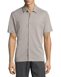 Theory - Gray Air Pique Short-sleeve Shirt for Men - Lyst