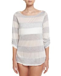 Splendid - Gray Homespun Striped Scoop-back Coverup Tunic - Lyst