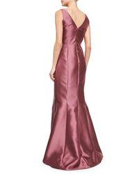 Carmen Marc Valvo - Purple Sleeveless Asymmetric-peplum Gown - Lyst