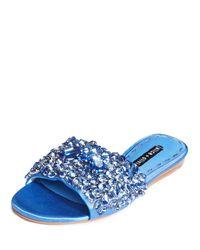 Alice + Olivia - Blue Abbey Jeweled Satin Sandal - Lyst