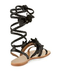Tory Burch | Brown Blossom Leather Gladiator Sandal | Lyst