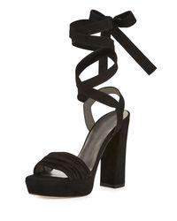 Stuart Weitzman - Black Backagain Suede Lace-up Sandal - Lyst