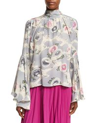 Co. - Multicolor Mum-print Silk Crepe Bell-sleeve Top - Lyst