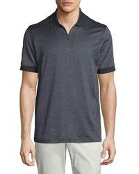 Brioni - Gray Micro-grid Jacquard Quarter-zip Polo Shirt for Men - Lyst