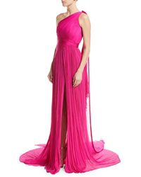 Pamella Roland - Pink One-shoulder Hand Pleated & Draped Silk Chiffon Evening Gown - Lyst