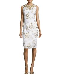 Badgley Mischka - Multicolor Sleeveless Floral-print Cocktail Dress - Lyst