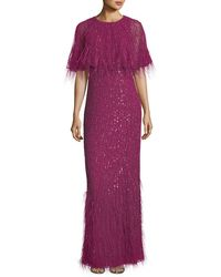 Parker Black Purple Lorena Sequined Feathered Evening Gown
