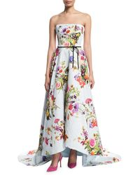 Monique Lhuillier - White Strapless Dotted Floral-print Jacquard High-low Evening Gown W/ Train - Lyst