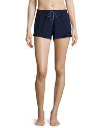 Fleur't - Blue Lace-inset Lounge Shorts - Lyst
