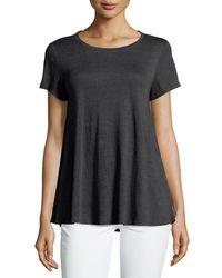 Eileen Fisher - Pink Short-sleeve Organic Linen Jersey Tee - Lyst