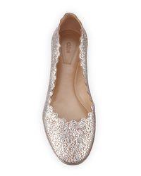Chloé | Multicolor Lauren Scalloped Metallic Leather Ballerina Flat | Lyst