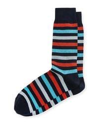 Neiman Marcus - Blue Multicolor-stripe Mercerized Socks for Men - Lyst