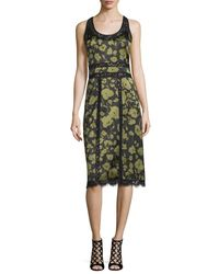 Michael Kors - Green Lace-inset Floraflage-print Tank Dress - Lyst