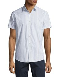 Theory - Blue Zack S. Linen-cotton Multi-stripe Short-sleeve Sport Shirt for Men - Lyst